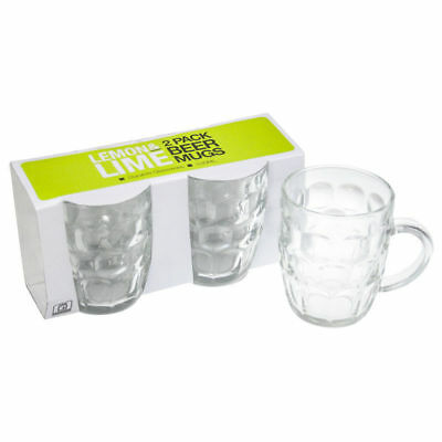 4x 530ml Glass Beer Mug with Handle Bar Clear Mugs Party