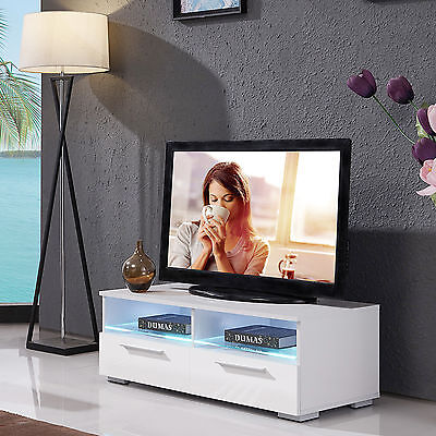 High Gloss White TV Stand Unit Cabinet W/ 2 Drawers & 2 Shelves & FREE LED