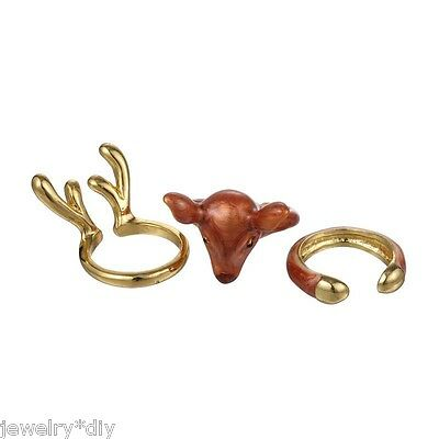 JD1Set European Christmas Deer Ring Three-piece Retro Animal Plated Jewelry Ring