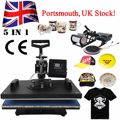 5 IN 1 SWING Heat Press Machine (CAP, PLATE, MUG,T-SHIRT) Sublimation Transfer