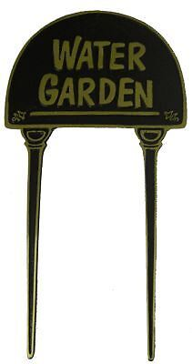"Solid Brass and Black ""Water Garden"" Lawn Spike Sign / Garden Ornament"