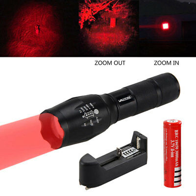 5000LM CREE LED Red Light Zoomable Flashlight Torch Light Torch 18650 5-Modes AU