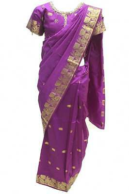 GSP3003 Dark Purple and Gold Girl's Stitched Pavadai Sattai Indian Pattu Pavadai