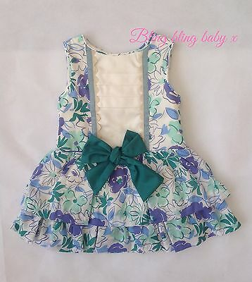 Baby Girls Spanish Bow Dress - 12 Months 1 Year Green  Floral Fully Lined