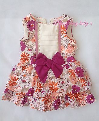 Baby Girls Spanish Bow Dress - 12 Months 1 Year Pink Floral Fully Lined