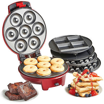 VonShef 3 in 1 Non-Stick Waffle Iron Brownie & Mini Doughnut Sweet Snack Maker