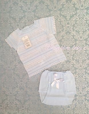 Baby Boys Spanish Romany Knitted Bow Short Set/ Outfit  - Baby Blue 0-3 Months