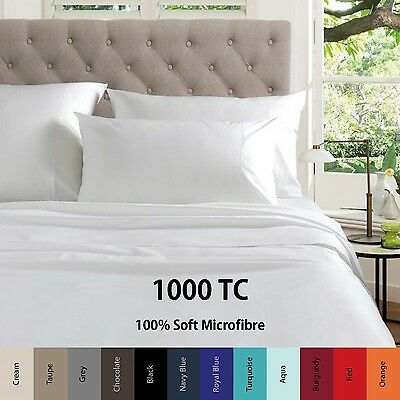 1000TC Microfiber Fitted Flat Sheet Set or Quilt/Doona Cover - Queen/King/Super
