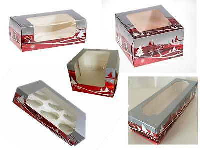 Christmas Cake Cupcake Yule Log & Mince Pie boxes Various Sizes & Quantities