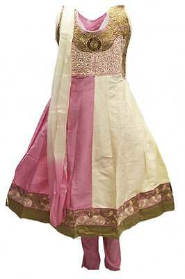 GCS3096 Baby Pink and Ivory Girl's Churidar Suit  Indian Bollywood Fancy Dress