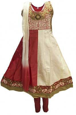 GCS3091 Crimson and Beige Girl's Churidar Suit Indian Bollywood Fancy Dress