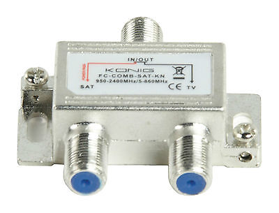 Satellite Tv Aerial Signal Combiner Splitter Diplexer Vhf Uhf F Sat Cable New