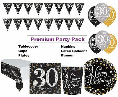 Gold Sparkling 30th Birthday 8-48 Guest Premium Party Pack Tableware Decorations