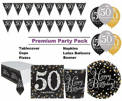 Gold Sparkling 50th Birthday 8-48 Guest Premium Party Pack Tableware Decorations
