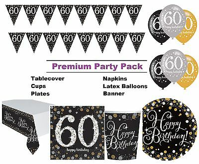 Gold Sparkling 60th Birthday 8-48 Guest Premium Party Pack Tableware Decorations