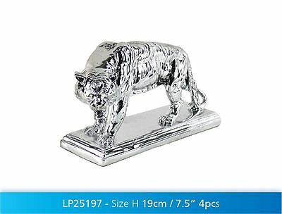 19cm Silver Art Tiger Ornament Decorative Wild Animal Display Figurine Gift