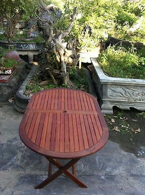 Patio Oval Garden Table. Dining Furniture. Solid Hardwood. Easy Storage Folding