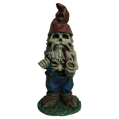"""Design House 19"""" Skeleton Man Gnome with Pipe Lawn Halloween Decoration"""