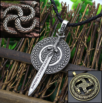 Viking Fylfot God Vanir Frey Sword Ancient Rune Sacred Pferde Necklace jewelry