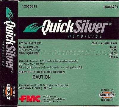 QuickSilver T&O Herbicide 0.169 fl.oz. Carfentrazone-ethyl 12% Weed Killer