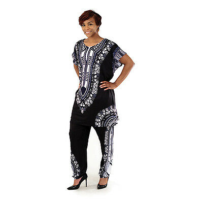 """Plus-Sized Traditional Pant Set: Black 54"""" bust. 30"""" lenght. ;female US seller."""