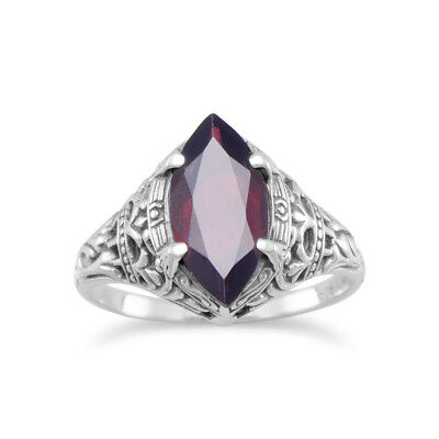 Marquise Garnet Ring Sterling Silver Antique Finish Vintage Style