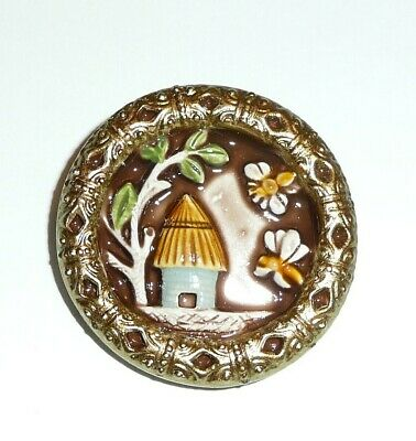 """Wonderful Adorable Bee & Bee Hive Large Art Stone Shank Button - 1-1/2"""""""