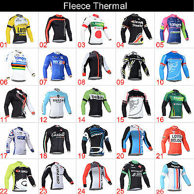 Hot Sale Mens Winter Cycling Thermal Bike Riding Fleece Jerseys Shirt Maillots