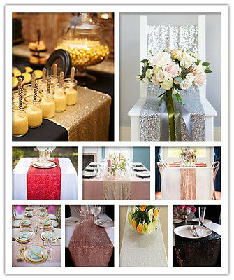 """New Sparkly Table Runner , 13*120"""" Seuin Wedding Party Banquet Event Tablerunner"""