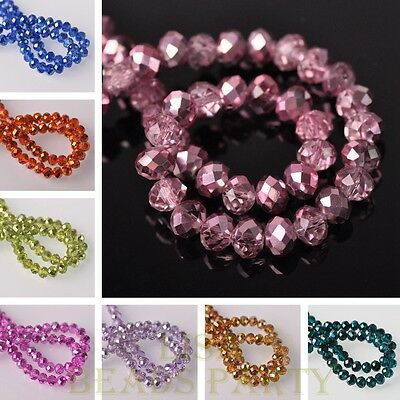 Wholesale Lot Rondelle Faceted Half Plated Loose Spacer Glass Beads 4/6/8/10mm