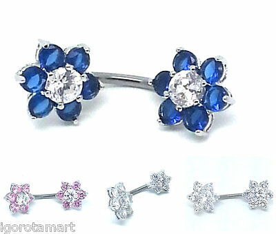 Sterling Silver Double Twin Flower End 316L Surgical Steel Belly Bar Ring