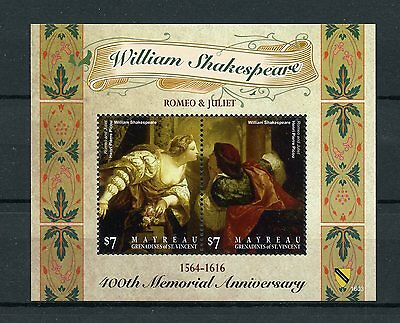 Mayreau Gren St Vincent 2016 MNH William Shakespeare 400th Memorial 2v SS Stamps