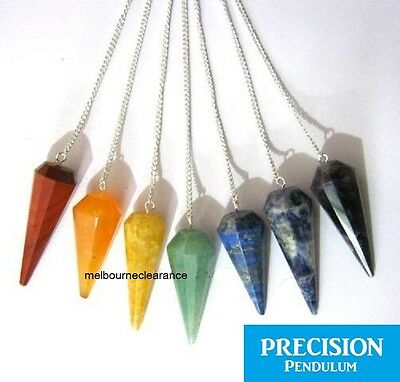 7x Chakra Solid Crystal Gemstone 12-Facet Precision Pendulum Set Healing Energy