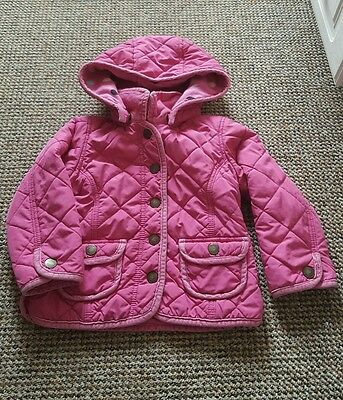 Baby Gap Pink Quilted Hooded Jacket Fleece Lining 4yrs