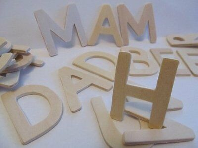 120 Wooden Capital Letters 4.5cm tall and 4mm thick + Kids B Crafty Games Sheet