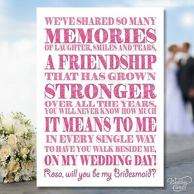 Will you be my Maid of honour sister Bridesmaid Invite Kraft Card invitation A6