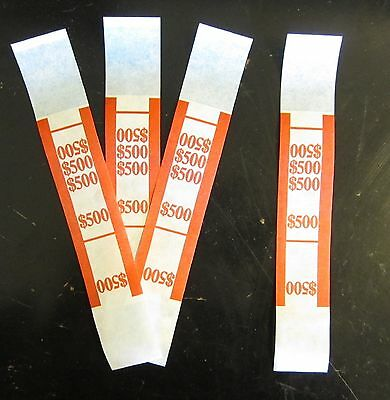 500 Self Sealing Red $500 Currency Straps Money Bill Bands $500 Pmc Brand Strap