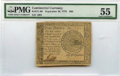 1778 Continental Currency $60 PMG AU 55 Fr#CC-86 Colonial
