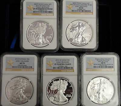 2013 american silver eagle 5 coin set ngc ms 70
