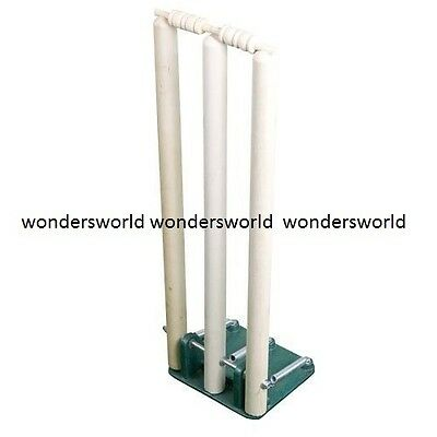 Cricket Wooden Spring Return Stumps With Bails & Metal Base Free Standing Wicket