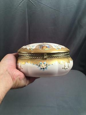 AntQ Pink Euro Partial Hand Paint Gilt Raised Floral Vanity Box Brass Fittings