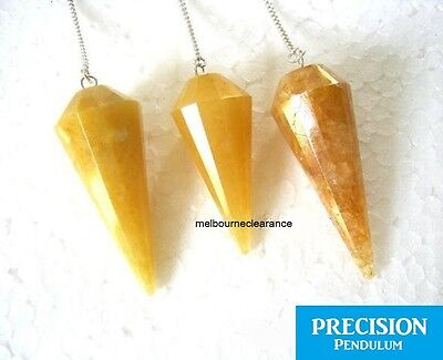 Solid Golden Quartz Crystal 12-Faceted Precision Pendulum Chakra Healing Energy