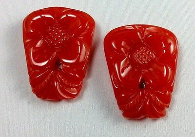 Beautiful Red Set Bakelite Carved Dress Clips