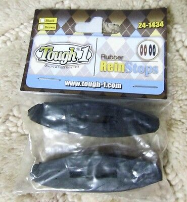 Black Rubber Rein Stops Pair Rein Stoppers English Western New