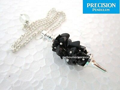 Wire Black Tourmaline Chakra Crystal Gemstone Precision Pendulum Healing Dowsing