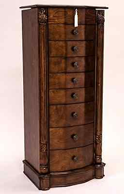 8 Drawer Wood Jewelry Armoire Stand 40 Inches Tall Mirror No Assembly Required