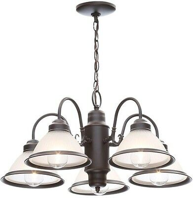 Chandelier Vintage Crystal Glass Ceiling Halophane 5-Light Oil Rubbed Bronze