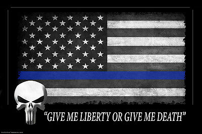 Thin Blue Line American Flag Punisher 24x36 Inch Poster