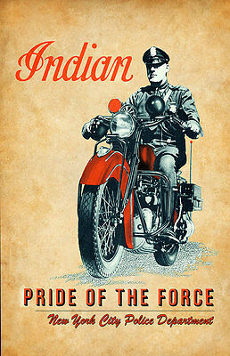 Indian Motorcycle Pride of the Force NYPD Two 11x17 Poster