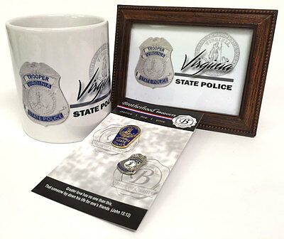Virginia State Police Framed Print, Coffee Mug, Lapel Pins Gift Set